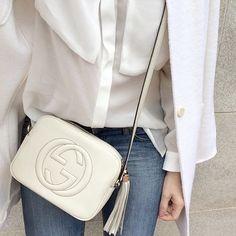 White Gucci tassel shoulder bag