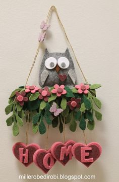 Home Sweet Hom Fuoriporta 46 Ideas Diy Arts And Crafts, Handmade Crafts, Paper Crafts, Diy Crafts, Felt Flowers, Fabric Flowers, Paper Flowers, Felt Crafts Patterns, Felt Owls