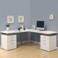 white 3 pc hollow core l shaped desk  from Linens 'n Things $504