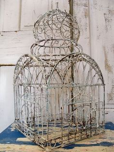 vintage ornate rusty wire birdcage detailed by AnitaSperoDesign