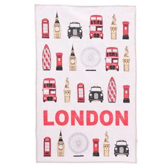 Ted Smith London Landmarks Cotton Tea Towel, Puckator USA & Canada Giftware Wholesalers