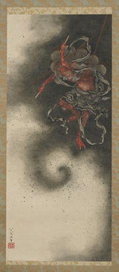 葛飾北斎ー雷神図ーGakyō Rōjin Manji (Hokusai in his last years, 1834-1849)