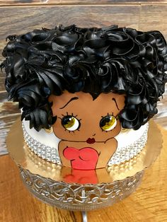 Betty Boop Afro Cake Pretty Cakes, Cute Cakes, Beautiful Cakes, Amazing Cakes, Unique Cakes, Elegant Cakes, Creative Cakes, Diva Cakes, Bolo Cake
