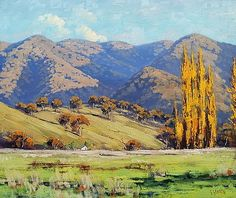 Tumut Autumn Landscape by Graham Gercken Landscape Artwork, Watercolor Landscape, Australian Painting, Graham Gercken, New Zealand Landscape, Impressionist Landscape, Autumn Painting, Southwest Art, Mountain Paintings