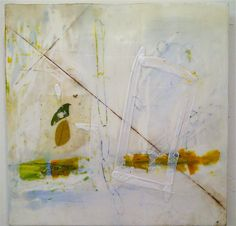 """Amy Weil 10""""'x10"""" encaustic with collage on board"""