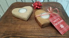 Beautifully crafted Solid Oak Love Heart Tea Light Holder from Bramble Signs