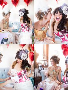 Bridal Shower - different hats and hair pieces...cute idea