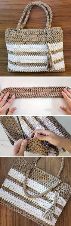 Crochet Bag With String Thread – Crochet Kingdom - Stricken Free Crochet Bag, Crochet Shell Stitch, Crochet Tote, Crochet Handbags, Crochet Purses, Thread Crochet, Diy Crochet, Crochet Crafts, Crochet Projects