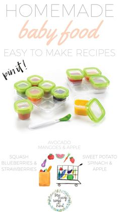 No need to buy a $200 baby food maker! Great for beginners/newbies! Just use your blender and crockpot! Includes super easy and yummy homemade baby food recipes. Store it, make it and feed.