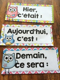 Yesterday it was, today it is, tomorrow it will be. French Language Lessons, French Language Learning, French Lessons, French Teacher, Teaching French, French Education, Kids Education, French Classroom Decor, French Flashcards