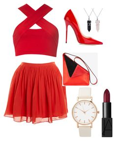 """red red red red red"" by qfs-skins ❤ liked on Polyvore featuring Motel, J.Crew, Jimmy Choo, Bling Jewelry and NARS Cosmetics"