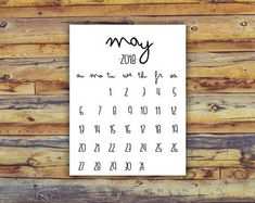 May 2018 Printable Calendar - Black And White - Instant Download Birth Announcement Printable Newborn