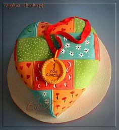 Patchwork quilt heart Cake