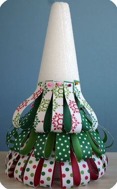 easy Christmas decor....ribbon, pins, styrofoam cone