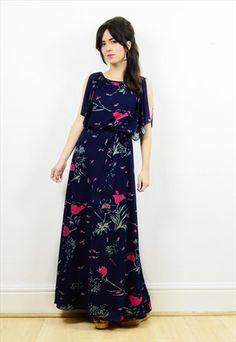 Vintage+navy+blue+floral+boho+maxi+dress