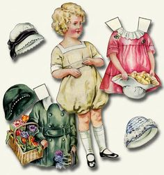 I was so happy when I found these great paper dolls from the 1920s and 1930s. There's a different one for each season/holiday. This one is for Spring and Easter. Printables 770 by piddix.