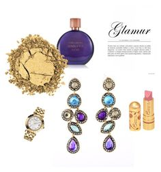 """""""Gold and #purple the #earrings from luzzaccessories.com"""" by luzzaccessories on Polyvore featuring Estée Lauder, Versace, women's clothing, women, female, woman, misses and juniors"""