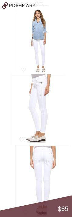 """Hudson Spark Supper Skinny Jeans Pre-owned Hudson Spark Supper Skinny Jeans   Size: 24  Measurements Approx:  Rise: 7.5"""" Inseam: 28.5""""   Patch back pockets. Single-button closure and zip fly.  Fabric: Stretch denim. 91% cotton/6% polyester/3% lycra-spandex. Hand wash. Made in the USA.  Style #HUDSO40235  ** ACCEPTING ANY REASONABLE OFFERS **  Any questions please let me know thank you. Hudson Jeans Jeans Skinny"""