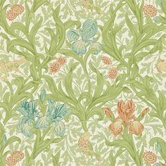 Shop for Wallpaper at Style Library: Iris by Morris & Co. Iris designed by J. Dearle in captures the feeling of an English country garden. Fabric Wallpaper, Wallpaper Roll, Bird Wallpaper, Beautiful Wallpaper, Morris Wallpapers, Art Nouveau Tiles, Painted Rug, English Country Gardens, Wallpaper Calculator