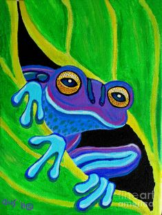 Purple frog peeking through Painting by Nick Gustafson - Purple frog peeking through Fine Art Prints and Posters for Sale
