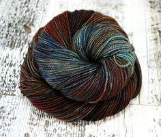 Hand Dyed Sock Yarn Superwash Merino Wool Blue by FiberFangirl