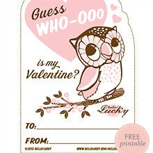 Guess Who-ooo: Free Printable Valentine's Card.