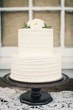 Wedding Cake Inspiration: White Minimalism / See more inspiration on The LANE (instagram @the_lane)