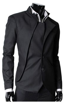 YAYUMI Mens Single Row Buckle Large Size Long Sleeve Suit Solid Color Stand Collar Coat Autumn Winter Fashion Jacket