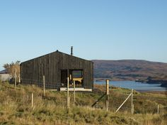 Black timber cladding - garage or office Skinidin - The Black Shed - Rural Design Architects - Isle of Skye and the Highlands and Islands Casa Wabi, Black Shed, Tiny House, Larch Cladding, Glass Cabin, Shed Homes, Building A Shed, House Design, Amazing