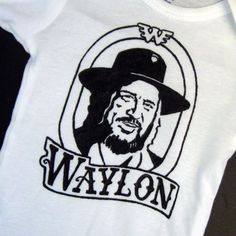 Hand Painted Waylon Jennings Baby Bodysuit or Kid's T-Shirt (pick your size) country music - 1970s - retro - black and white. $18.25, via Etsy.
