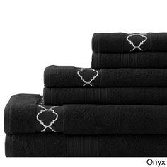 Quatrefoil Embroidered/ Solid Zero-twist Egyptian Cotton 6-piece Towel Set