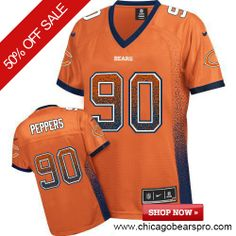 $69.99 Women's Nike Chicago Bears #90 Julius Peppers Game NFL Drift Fashion Orange Jersey