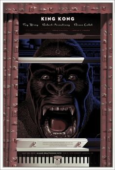 Wow!  What a poster!  Would love to own this one.  :)  This is happy!    Mondo: The Archive | Laurent Durieux - King Kong - Variant, 2012 film, screen, movi poster, art, king kong, laurent durieux, variant, posters, poster prints