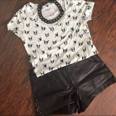 French #buldog Tee Super soft, light green and black French bulldog tee. Bundle for discount!  BDG Tops Tees - Short Sleeve