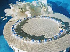 Something Blue Anklet Swarovski Crystals Pearls Wedding Ankle Bracelet Jewelry