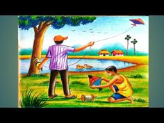 Oil Pastel Drawings Easy, Oil Pastel Paintings, Indian Art Paintings, Colorful Drawings, Scenery Drawing For Kids, Easy Drawings For Kids, Oil Pastel Colours, Oil Pastels, Landscape Pencil Drawings