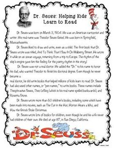 Dr seuss biography for students