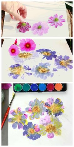How to do flower pounding and add watercolor paint to make cool artwork. Creative Crafts, Diy Crafts For Kids, Crafts To Sell, Fun Crafts, Art For Kids, Arts And Crafts, Paper Crafts, Craft Ideas, Flower Crafts