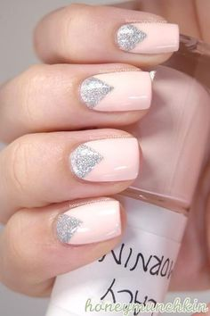 30 Two Toned Nail Ideas For Pretty Ladies - Pastel pink and glitter silver