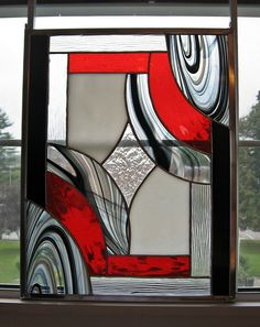 """Black, Red, White, and Clear Abstract Geometric Stained Glass Panel -- """"Classic Elegance II"""" by StainedGlassYourWay on Etsy https://www.etsy.com/listing/161247290/black-red-white-and-clear-abstract"""