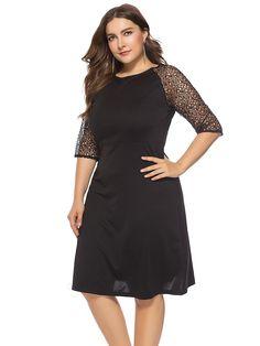 c4474f664329 New Women Ladies Plus Size Elegant 3/4 Sleeve Lace Short Dress Party Dress  afflink