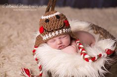 Crochet Gingerbread Man Hat Beanie, Baby Holiday Christmas Winter Beanie, Photo Photography Prop via Etsy