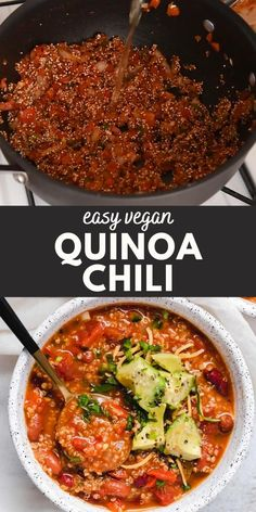 Vegan Mexican Recipes, Easy Healthy Recipes, Vegetarian Recipes, Vegan Recepies, Cooking Recipes, Healthy Options, All You Need Is, Vegetarian Quinoa Chili, Bean Recipes