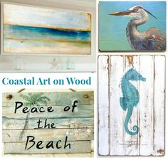 Coastal, Ocean and Beach Paintings on Wood for a Rustic Unique Look: http://www.completely-coastal.com/2016/02/coastal-ocean-beach-paintings-on-wood.html