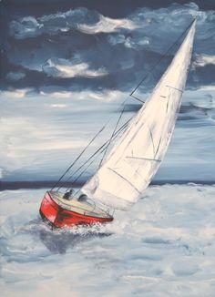 Segelboot - Gustave am Meer - Art - Kunst Sailboat Art, Sailboat Painting, Nautical Art, Sailboats, Watercolor Landscape, Watercolor Paintings, Watercolour, Boat Drawing, Urbane Kunst