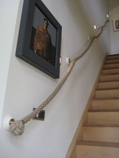 Rope for steep attic stairs.
