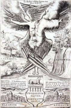 Franics as a seraphim. Frontispice, Pedro de Alva y Astorga, Naturae Prodigium Gratiae Portentum (Prodigy of Nature, Portent of Grace), Madr...