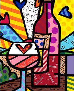 Food & Wine by Romero Britto #food #wine #art