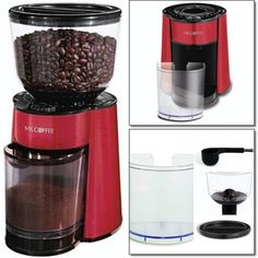 Electric-Coffee-Grinder-Automatic-Bean-Burr-Mill-Bean-Grind-Espresso-Kitchen-Red