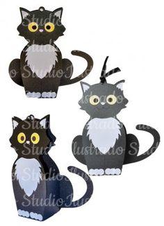 Sacolinha Gato, 3D, 3D model, 3D Project, Modelo 3D, Projeto 3D, Silhouette, Cat Baggie, Cat Bag, Box, caixa